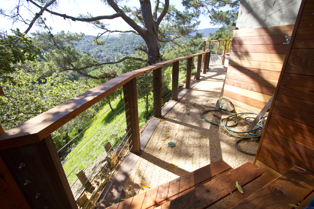 Stainless Steel Rails, Redwood Deck, Crushed Granite Path,