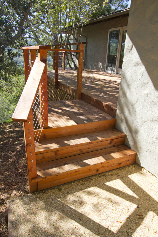 Redwood Deck, Stainless Steel Cables, Rails, Steps, Stairs