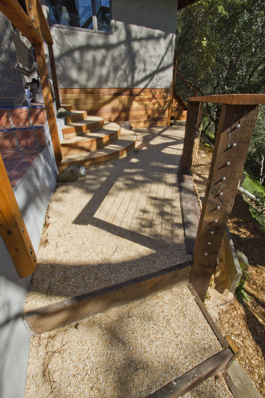 Crushed Granite Path, Curved Steps, Stainless Steel Rails
